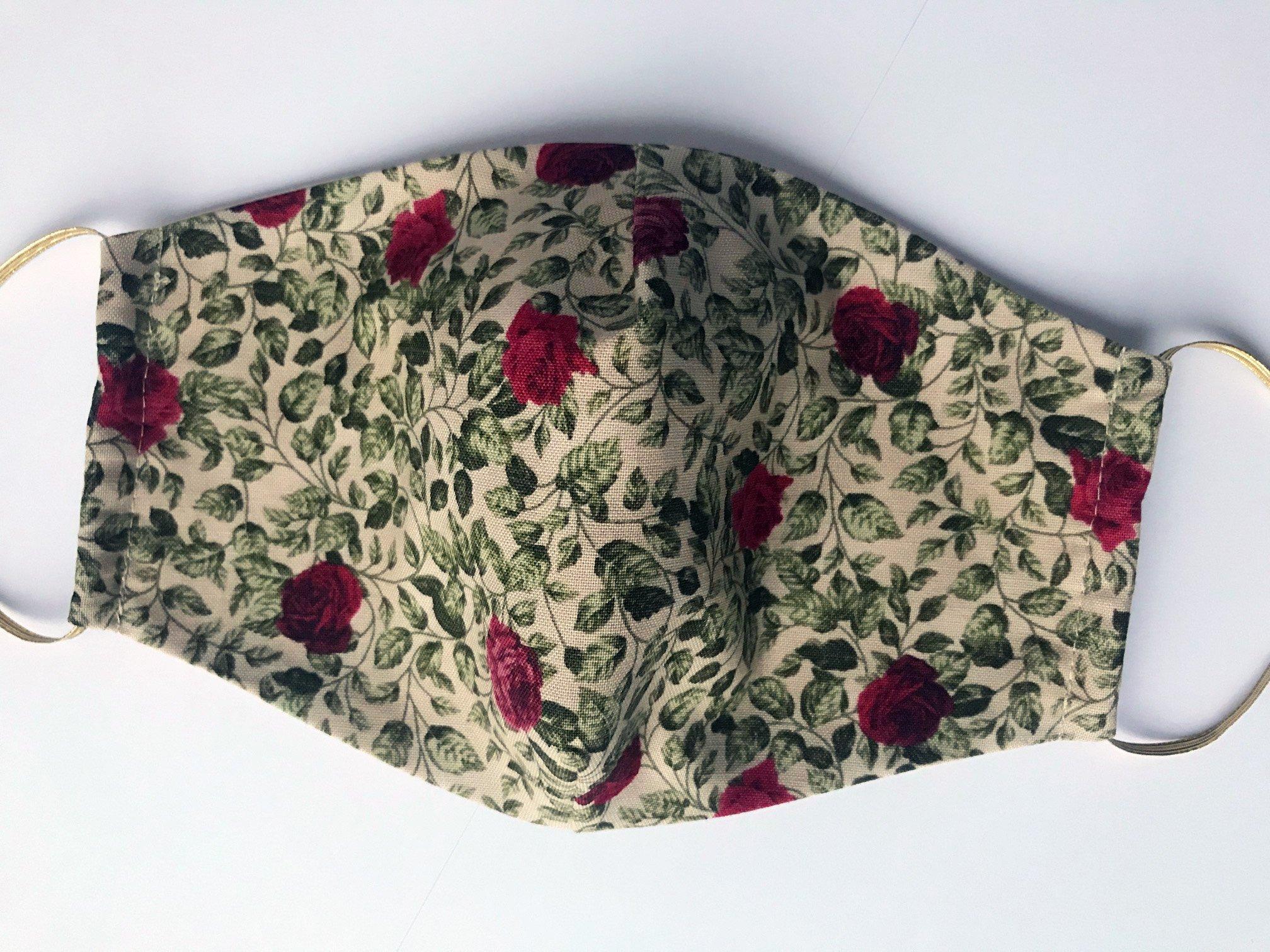 Bavlnené rúško s potlačou ruží